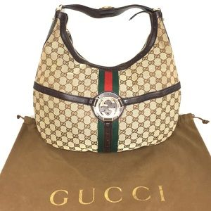 Authentic Gucci brown monogram canvas hobo bag